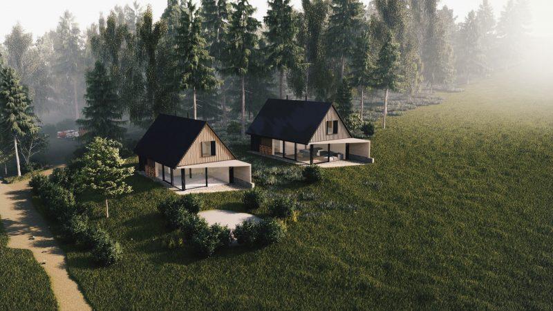 Dva modulární pasivní domy u lesa