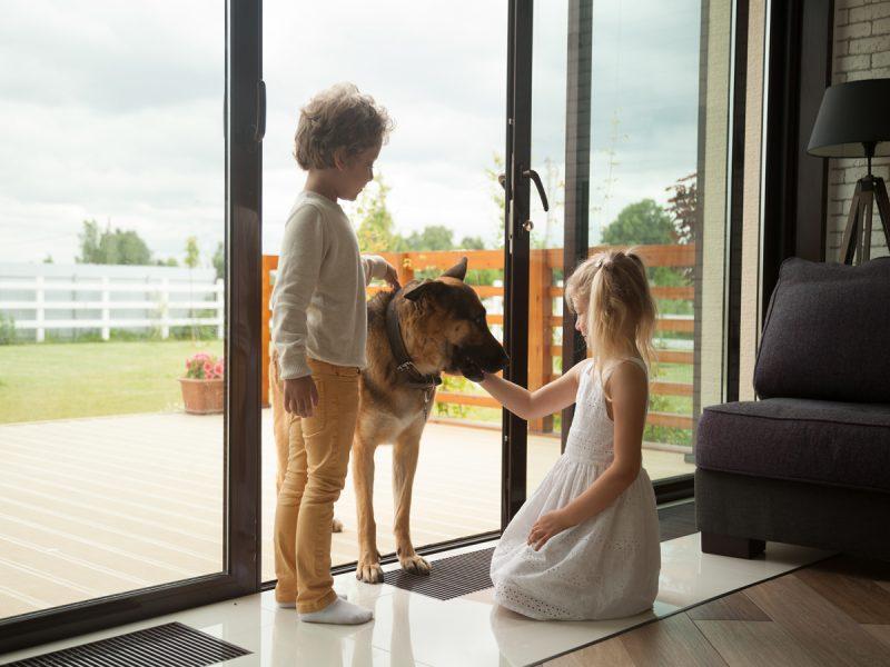 Děti hrající si u terasových dveří