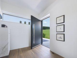 Vchodové šedé dveře do domu